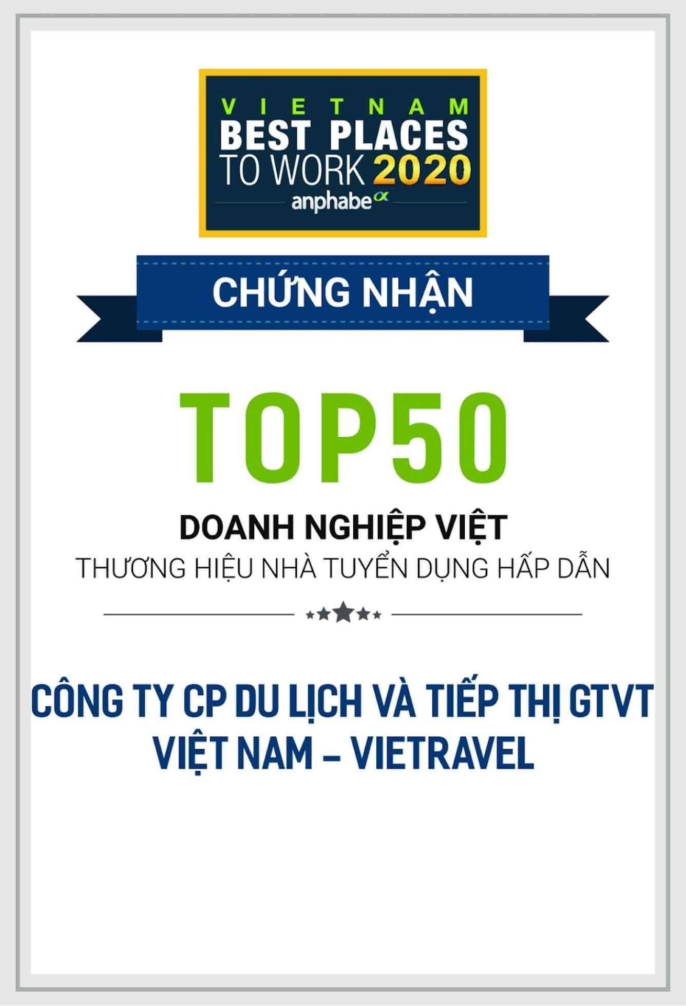 Vietravel vinh dự lần thứ 3 đạt Top 50 doanh nghiệp Việt tuyển dụng hấp dẫn