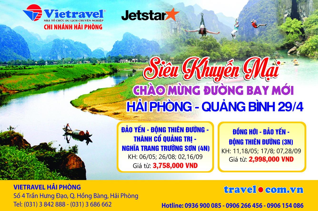 Vietravel Hải Phòng mở bán chùm tour siêu khuyến mại chào mừng đường bay mới Hải Phòng - Đồng Hới