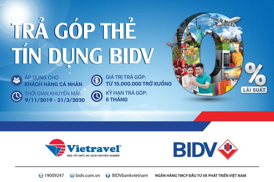 Thể lệ chương trình trả góp 0% lãi suất cùng BIDV