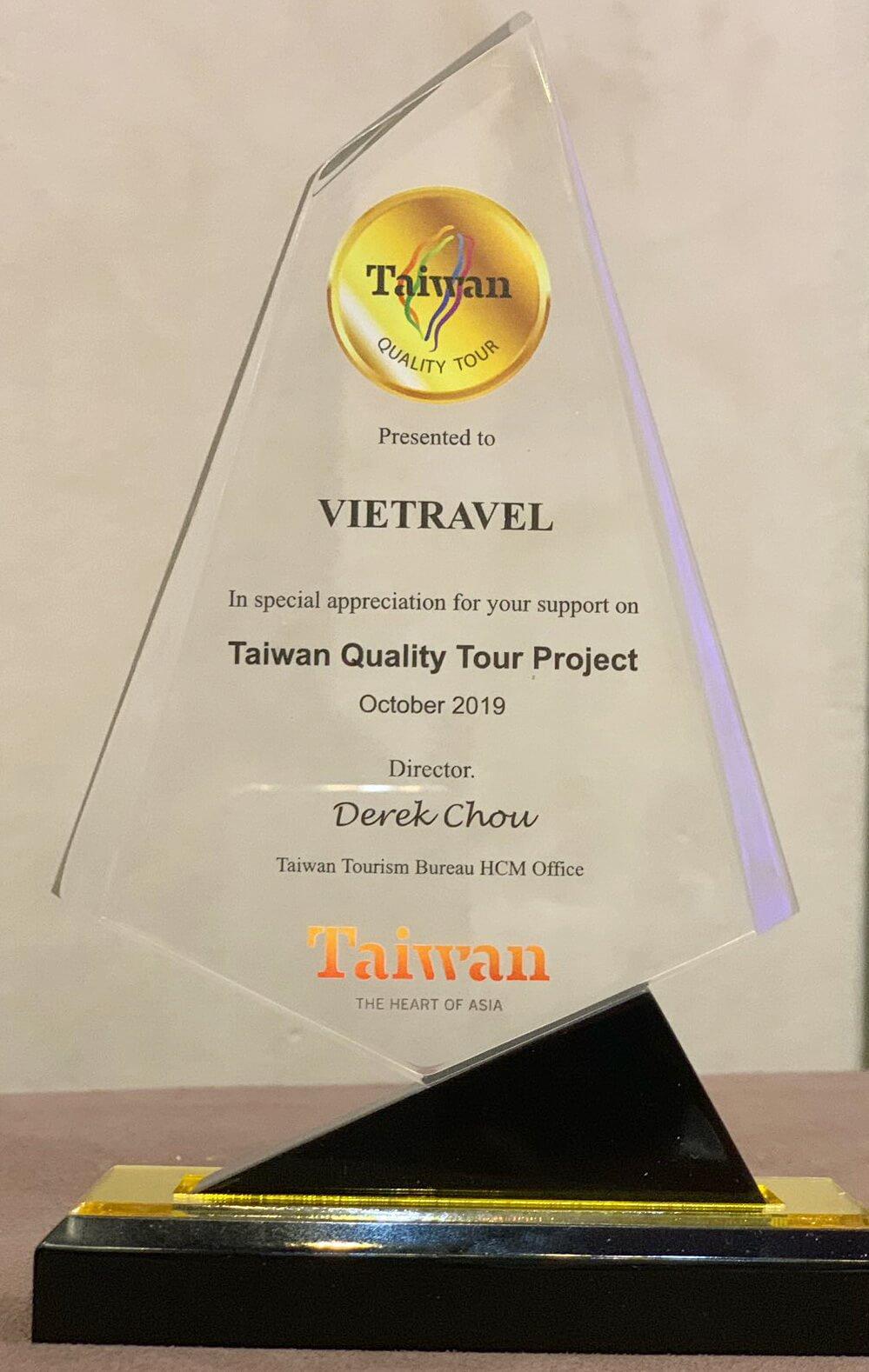 Vietravel được Tổng Cục Du lịch Đài Loan trao chứng nhận là Công ty thực hiện tour Đài Loan chất lượng cao