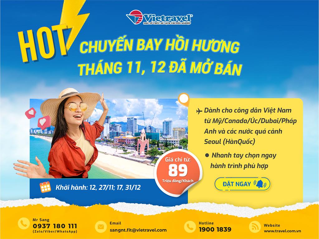 Vietravel tăng chuyến bay hồi hương tháng 11-12/2021