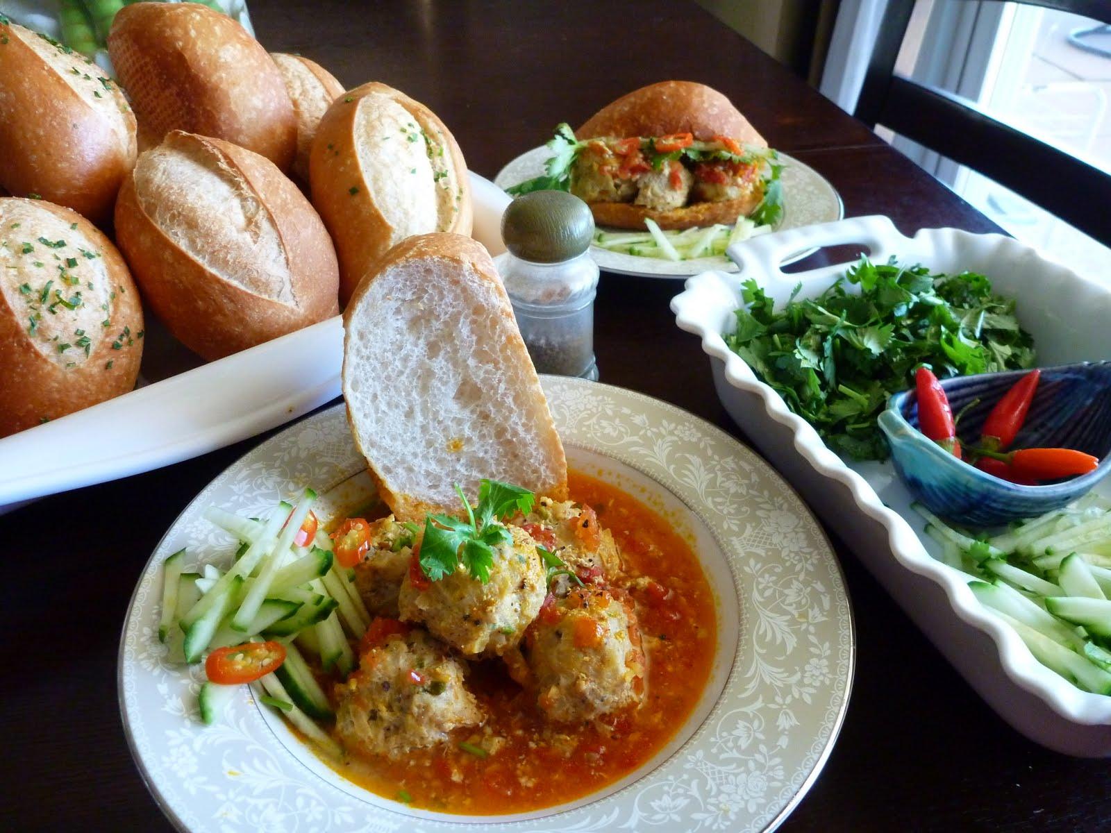 Banh Mi Xiu Mai (Vietnamese Baguette with Meatball Soup)