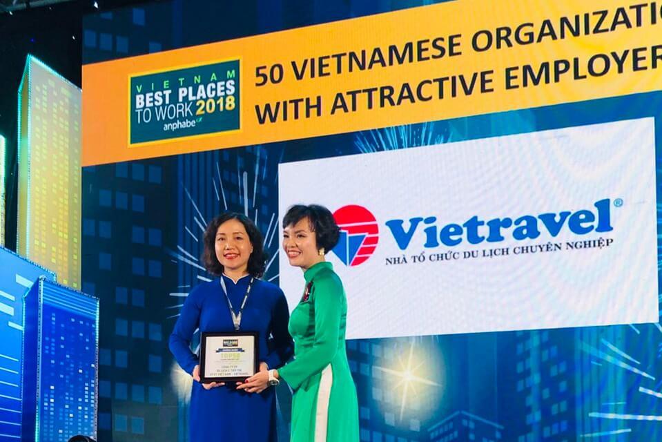 Vietravel đạt top 50 Doanh nghiệp Việt có thương hiệu Tuyển dụng hấp dẫn năm 2018