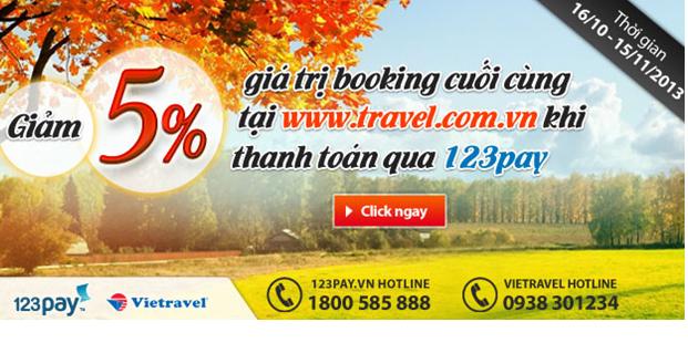 Giảm 5% giá trị book tour tại www.travel.com.vn khi thanh toán qua cổng 123Pay