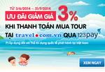 Mua tour trực tuyến, thanh toán qua 123Pay giảm đến 3%