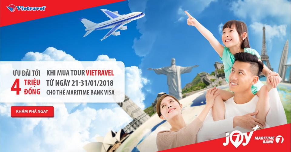 Hoàn tiền 30%, tới 3 triệu đồng cho chủ thẻ tín dụng du lịch Maritime Bank Visa khi  mua tour du lịch tại Vietravel