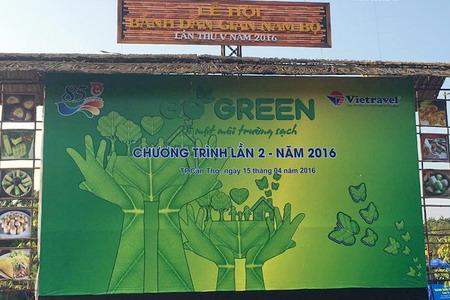 """Vietravel tiếp tục hành trình  """"Go Green - Vì một môi trường sạch"""" đợt 2 tại Lễ hội Bánh Dân gian Nam Bộ lần V - năm 2016"""