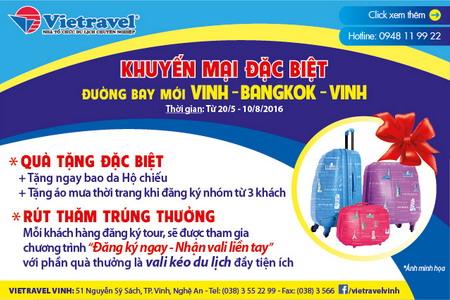 """Vietravel """"thừa thắng"""" tăng cường chuyến bay Vinh - Bangkok"""