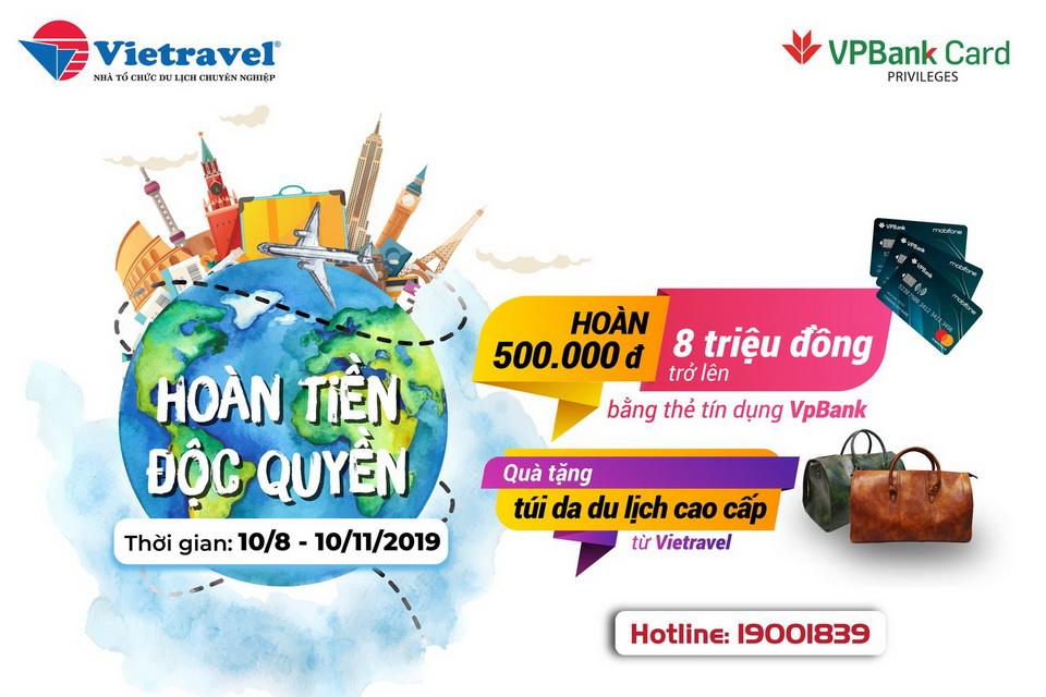 Thể lệ chương trình khuyến mại Hoàn tiền cùng Vietravel - VPbank